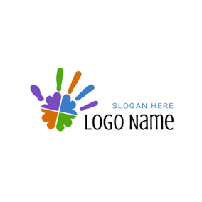Colorful Hand and Stem Symbol logo design