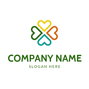 Colorful Heart and Combined Clover logo design