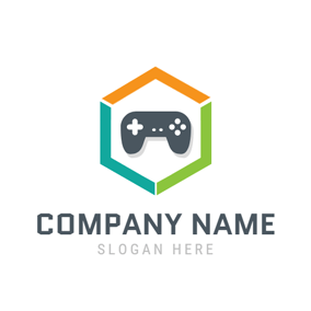 Colorful Hexagon and Gamepad logo design