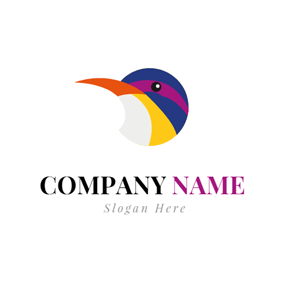 Colorful Kingfisher Head Icon logo design