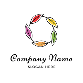 Colorful Leaves Circle Watercolor logo design