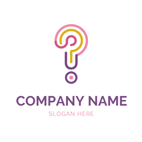 Colorful Line and Question Mark logo design