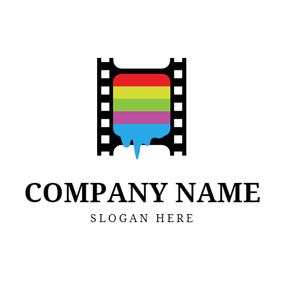 Colorful Oil Paint and Film logo design