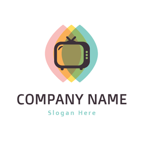 Colorful Overlay and Black Tv logo design