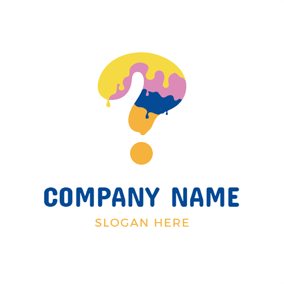 Colorful Pigment and Question Mark logo design
