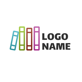 Colorful Standing Book logo design