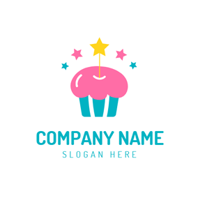 Colorful Star and Birthday Cake logo design
