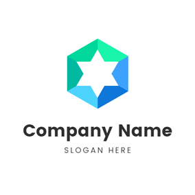 Colorful Star and Polygon logo design