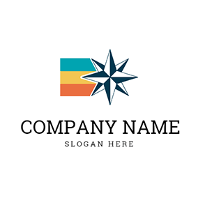 Colorful Stripe and Polaris Star logo design