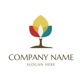 Colorful Tree Icon logo design
