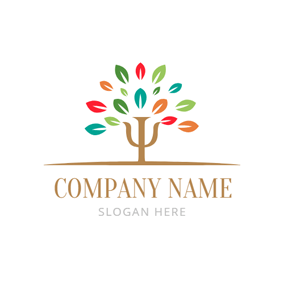 Colorful Tree Leaf and Psi logo design