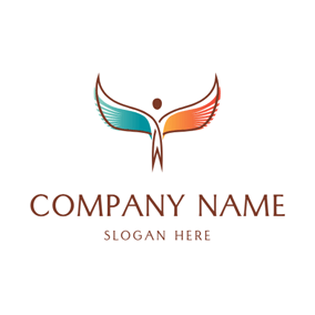 Colorful Wing and Angel logo design