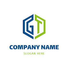 Combination Hexagon Letter G T logo design