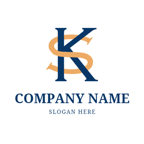 Conjoint Letter K and S logo design