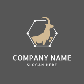Connected Hexagon and Capricorn Animal logo design