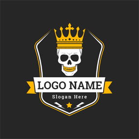Cool Skull Crown and Banner logo design
