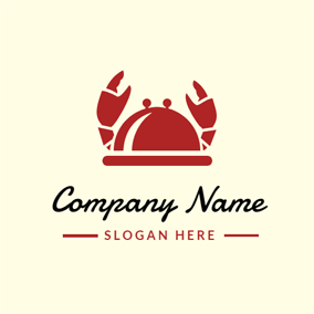 Covered Plate and Cute Crab Icon logo design