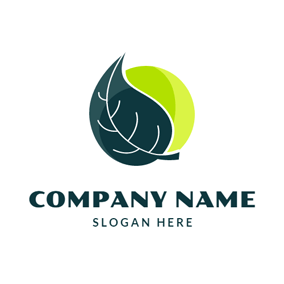 Crescent and Organic Leaf logo design