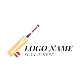 Cricket Bat and Cricket Ball logo design
