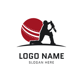 Cricket Sportsman and Cricket logo design