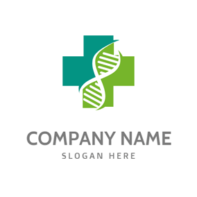 Cross and Dna Structure logo design