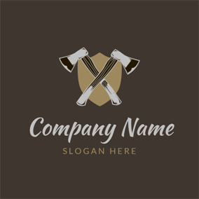 Cross Axe and Badge logo design