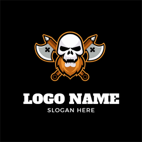 Cross Axe and Human Skeleton logo design