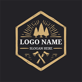Cross Axe and Yellow Tree logo design