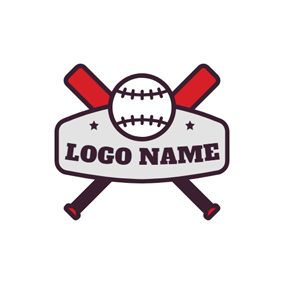 Cross Baseball Bat and Ball logo design
