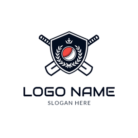 Cross Bat and Badge logo design