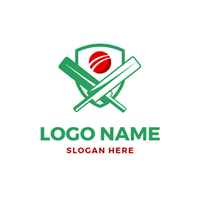 Cross Bat and Red Cricket logo design