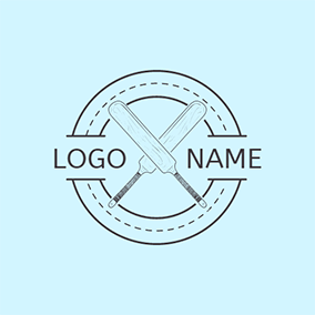 Cross Cricket Bat Icon logo design