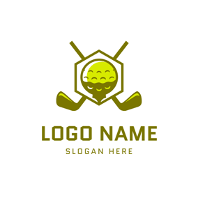Cross Golf Clubs and Ball logo design