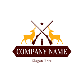 Cross Gun and Deer logo design