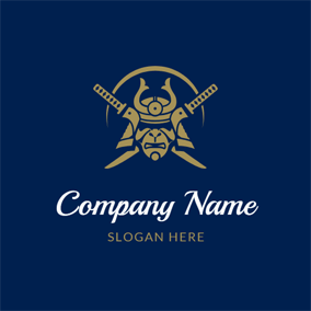 Cross Katana and Samurai Helmet logo design