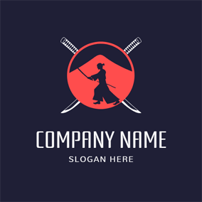 Cross Katana and Samurai Icon logo design