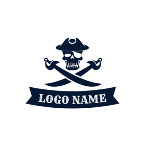 Cross Knife and Skeleton Pirates logo design