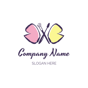 Cross Make Up Brush logo design