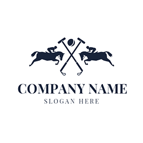 Cross Mallet and Polo Horse logo design