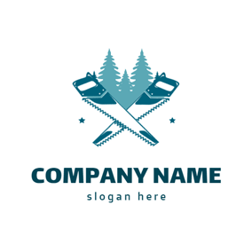 Cross Saw and Tree logo design