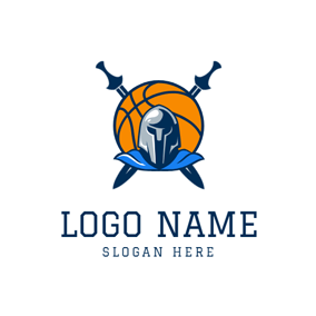 Cross Sword and Basketball logo design