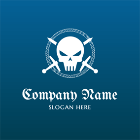 Cross Sword and Skeleton Pirates logo design
