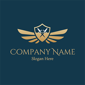 Cross Sword and Yellow Shield logo design
