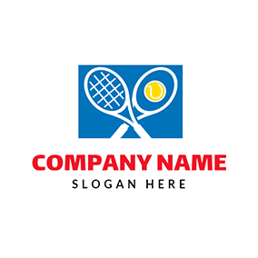Cross Tennis Racket and Yellow Ball logo design