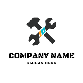 Crossed Black Hammer and Spanner logo design