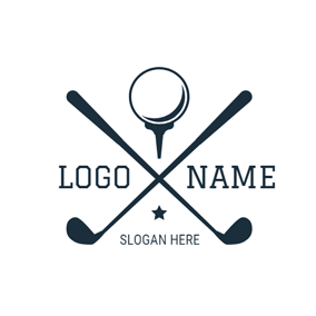 Crossed Golf Clubs and Ball logo design
