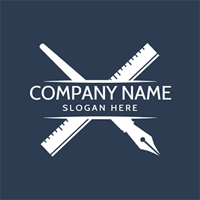 Crossed Ruler and Pen logo design