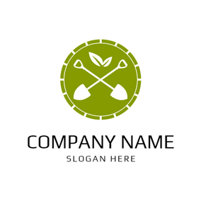 Crossed Spade and White Leaf logo design