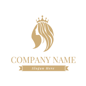 Crown and Brown Hair Lady logo design