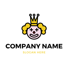 Crown and Joker Face logo design